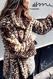 Sexy Lapel Collar Leopard Printed Floss Long Coat Leopard Print l
