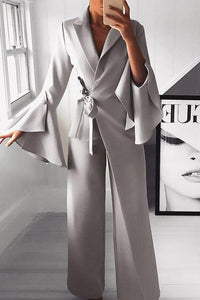 Fashion Pure Colour Bell Sleeve Jumpsuits Gray s
