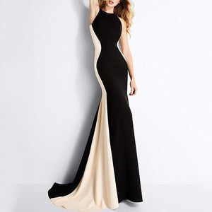 Crew Neck Color Block Mermaid Evening Dress black xl