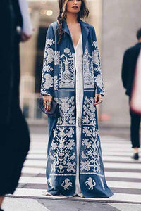 Turndown Collar   Printed Colour Long Sleeve Coat Same As Photo s