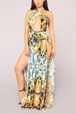 Sexy Golden Floral Print Maxi Dress gold s