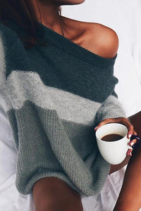 Shoulder Knitting Stripes Loose Lazy Couture Sweaters same_as_photo s