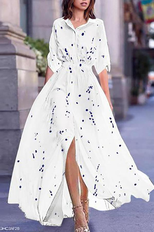 Turn Down Collar  Printed Maxi Dress white 3xl