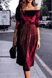 Sexy Off-Shoulder Elegant Skater Dress claret_red s