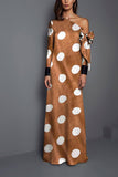 Sexy Shoulder Wave Point Printed Maxi Dress same_as_photo 2xl