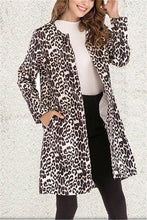 Fashion Sexy Long Sleeved Leopard Print Trench Coat