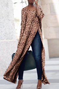 Scoop Neck Side Vented  Leopard Print T-Shirts leopard_print s