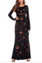 Halloween Pumpkin Print Long-Sleeve Maxi Dress