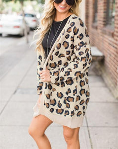 Casual Fashion Long   Leopard Print Cardigan Jacket Coat Leopard Print xl