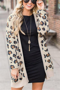 Casual Fashion Long   Leopard Print Cardigan Jacket Coat Leopard Print s