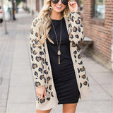 Casual Fashion Long   Leopard Print Cardigan Jacket Coat Leopard Print l