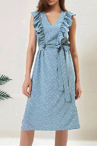 Fashion Lovely V Collar Flouncing Dot Belt Shift Dress blue s