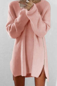 Round Collar Casual Long Sleeve Oversized Sweater pink m