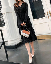 Casual Simple Diamond Inlaid V Collar Cake Skirt Long Sleeved Ablaze Maxi Dress