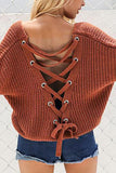 Fashion V-Neck Back Lace Up Bat Sleeve Sweater orange_red s