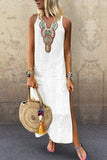 Sexy Side Split V Neck  Printed Sleeveless Casual Dresses white s