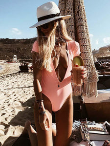 Deep V-neck Short Sleeves One-piece Swimwear PINK S