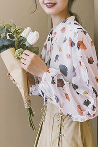Vintage Lace-Up   Floral Pattern Printed Long Sleeve Ruffled Blouse Same As Photo s