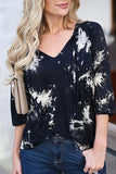 Fashion Floral Printed Long Sleeve T-Shirts black s