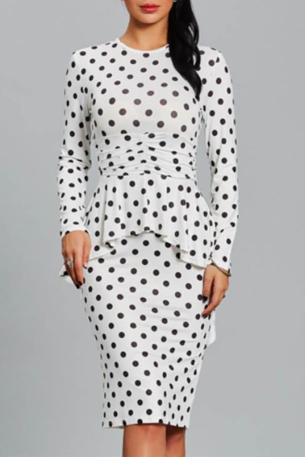 Round Collar Polka Dot Ruffles Long Sleeve Bodycon Dress same_as_photo m