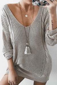 Sexy Deep V Neck Long Sleeve Knitting Sweaters gray s