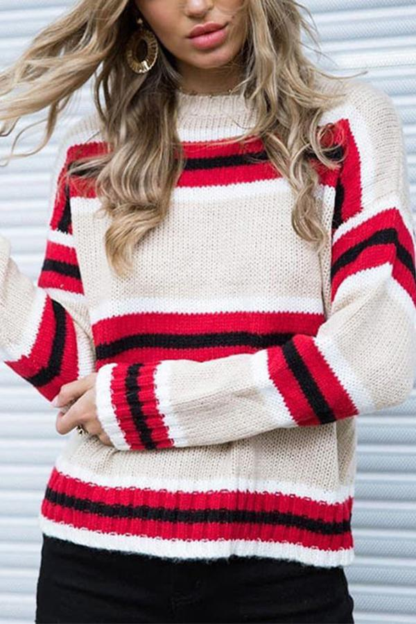 Round Neck Stripes Color Block Long Sleeve Sweaters red s