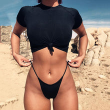 Sexy Bikini Knotted Half Sleeve Solid Color Split Swimsuit