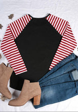 Christmas letter printed striped sleeve T-shirt