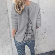 Casual Lace stitching back zipper long sleeve T-shirt