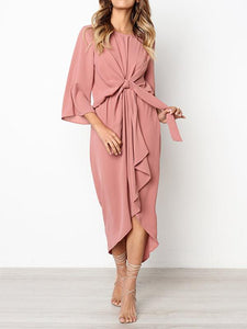 Solid Color Bandage Fabala Long Sleeves Midi Dress PINK S