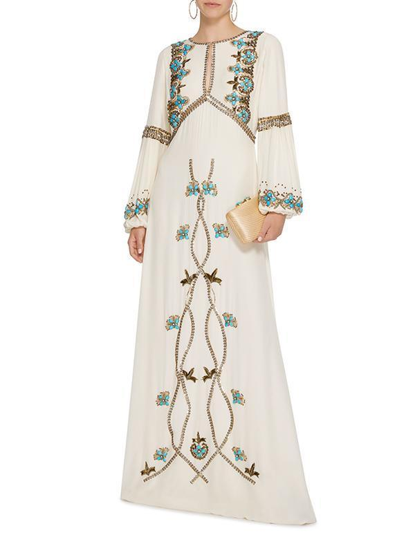 White Embroidered Puff Sleeve Maxi Dress WHITE L