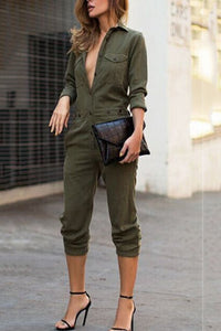 Army Green Fashion Lapel Jumpsuit army_green s
