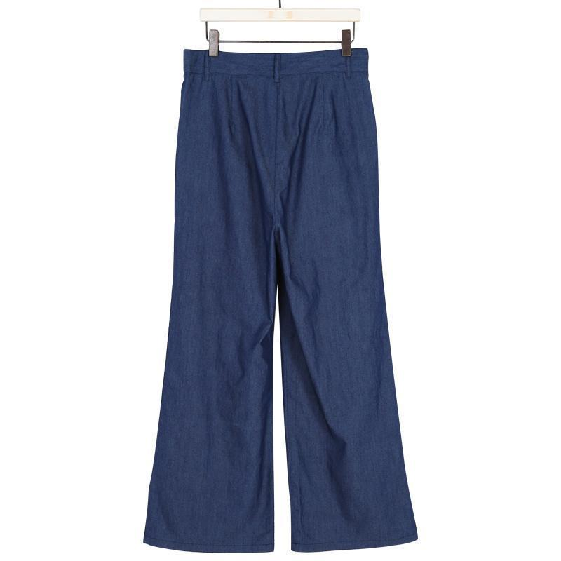 Solid Color Tie Wide Leg Pants dark_blue 3xl