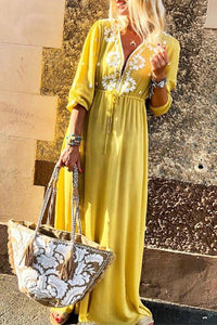 Deep V Neck Lace Up Maxi Dress yellow s