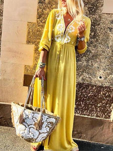 Deep V Neck Lace Up Maxi Dress yellow m