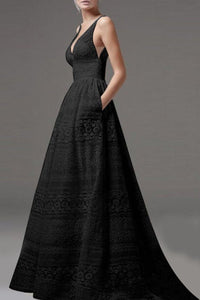 Deep V-Neck Hollow Out Plain Lace Wedding Evening Dress black s