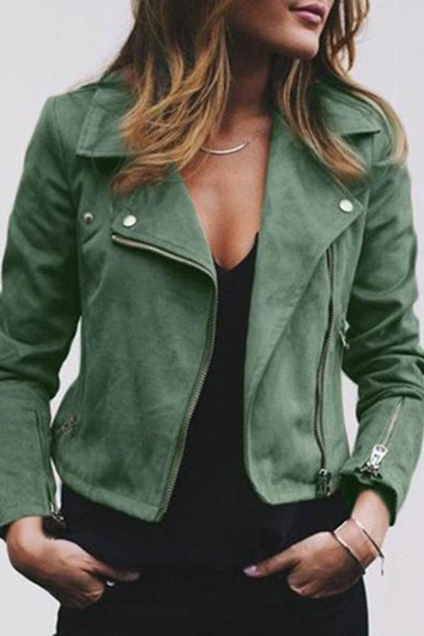 Street Style Zipper Suede Jacket Army Green s