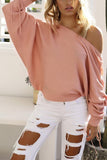 A Casual Open-Shoulder Pit Sweater Jacket pink s