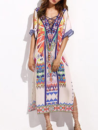 V-neckline Short Sleeves Maxi Print Bohemia Dress Free Size