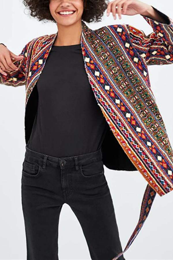 Fashion Casual Sash Ethnic Style Kimono Coats Same As Photo s