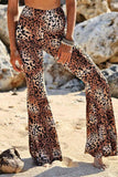 Leopard Print High-Waisted Wide-Leg Pants Brown Leopard Print one size
