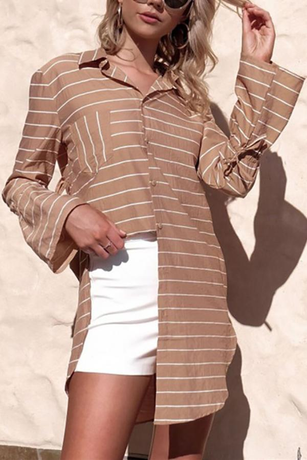 Loose Medium And Long Print Striped Shirt camel s