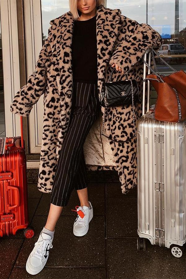 Cool Chic Lapel Collar Leopard Printed Long Loose Coat Brown Leopard Print xl