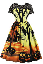 Halloween Lace Splicing Vintage Print Dresses