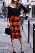 Nifty Fashion Business Slim Plaid High Waist Bodycon Skirt