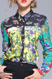 Fashion Print Sleeve Shirt green m