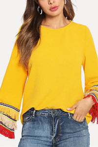 Fashion Tassels Long Sleeve Plain Shirts Yellow s