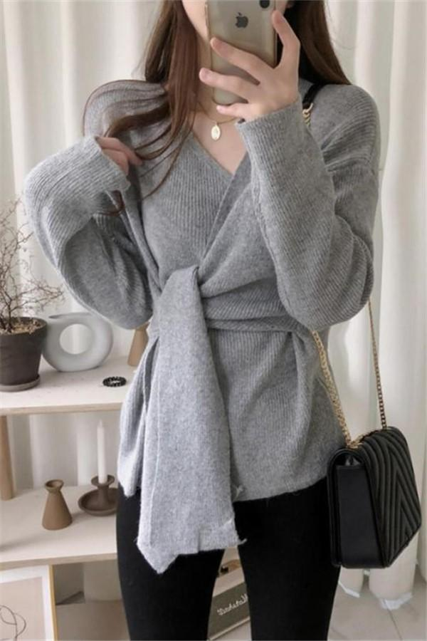 Casual Simple High   Waistlace Up  V Neck Slim Long Sleeve   Knitted Sweater Gray one size