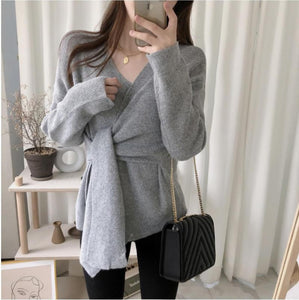 Casual Simple High   Waistlace Up  V Neck Slim Long Sleeve   Knitted Sweater Beige one size
