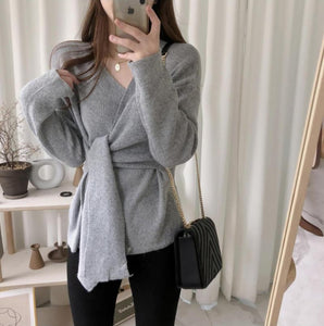 Casual Simple High   Waistlace Up  V Neck Slim Long Sleeve   Knitted Sweater Khaki one size